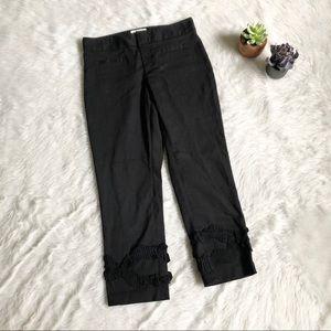 Elevenses Black Crop Ruffle Trim Trouser